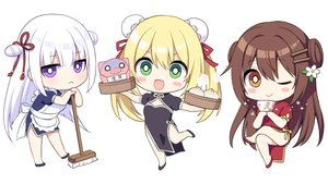 Rating: Safe Score: 33 Tags: apron blonde_hair brown_hair chibi chinese_clothes chinese_dress drink food green_eyes long_hair maid orange_eyes original purple_eyes sumisaki_yuzuna twintails waifu2x white white_hair wink User: otaku_emmy