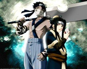 Rating: Safe Score: 6 Tags: all_male black_eyes black_hair haku_(naruto) headband male mask momochi_zabuza naruto sword weapon User: Oyashiro-sama