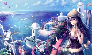 Rating: Safe Score: 125 Tags: airship animal bird black_hair blue_eyes breasts building city cleavage clouds feathers flowers food ice_cream navel original scenic sky t.m_(aqua6233) water User: mattiasc02