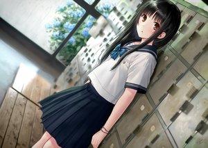 Rating: Safe Score: 159 Tags: black_hair bow brown_eyes kazuharu_kina long_hair original rain school_uniform skirt water wristwear User: BattlequeenYume