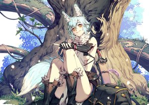 Rating: Safe Score: 74 Tags: animal_ears aqua_hair breasts cat_smile cozy cropped elbow_gloves gloves kneehighs original short_hair sword tail tree weapon wolfgirl yellow_eyes User: otaku_emmy