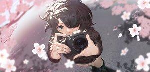 Rating: Safe Score: 38 Tags: black_eyes black_hair camera cherry_blossoms close flowers namusan1146 original short_hair User: Dreista