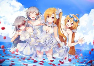 Rating: Safe Score: 60 Tags: anthropomorphism azur_lane blonde_hair breasts cleavage cleveland_(azur_lane) columbia_(azur_lane) denver_(azur_lane) dress glasses gray_hair group long_hair montpelier_(azur_lane) nagu ponytail red_eyes sky thighhighs water wedding_attire User: Nepcoheart