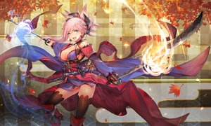 Rating: Safe Score: 63 Tags: autumn blue_eyes boots breasts cleavage fate/grand_order fate_(series) fire khanshin leaves magic miyamoto_musashi_(fate/grand_order) pink_hair sword thighhighs weapon User: BattlequeenYume