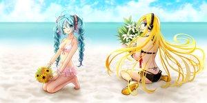 Rating: Safe Score: 47 Tags: 2girls beach bikini braids flowers hatsune_miku headphones hinana37 lily_(vocaloid) long_hair swimsuit twintails vocaloid wink wristwear User: FormX