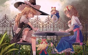 Rating: Safe Score: 51 Tags: alice_margatroid bloomers blue_eyes bow braids brown_eyes brown_hair doll dress drink flowers group hat headband kirisame_marisa long_hair maachi_(fsam4547) shanghai_doll short_hair socks touhou witch witch_hat User: RyuZU