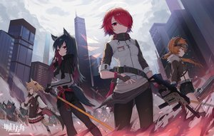 Rating: Safe Score: 71 Tags: animal_ears arknights black_hair blonde_hair building cape city clouds croissant_(arknights) exusiai_(arknights) gloves group gun halo horns logo orange_hair pantyhose phone ponytail red_eyes red_hair shirt short_hair shorts skirt sky sora_(arknights) sword tail texas_(arknights) thighhighs tie tttanggvl twintails weapon wings zettai_ryouiki User: otaku_emmy