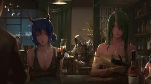 Rating: Safe Score: 89 Tags: a-m-one arknights blue_hair breasts ch'en_(arknights) cleavage drink elbow_gloves gloves green_hair group hoodie horns hoshiguma_(arknights) mask necklace paper pink_eyes realistic yellow_eyes User: BattlequeenYume