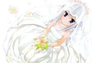 Rating: Safe Score: 126 Tags: blue_eyes dress eucliwood_hellscythe flowers gray_hair kobuichi kore_wa_zombie_desu_ka? wedding_attire User: Wiresetc