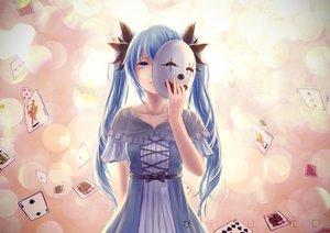 Rating: Safe Score: 81 Tags: aqua_eyes aqua_hair dress hatsune_miku homo_(1450677731) karakuri_pierrot_(vocaloid) long_hair mask ribbons twintails vocaloid User: Flandre93