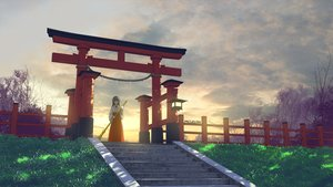 Rating: Safe Score: 69 Tags: black_hair clouds japanese_clothes long_hair mclelun miko original shade shrine sky stairs sunset torii User: RyuZU