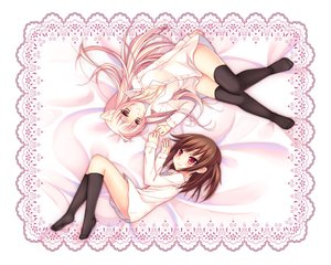 Rating: Safe Score: 83 Tags: 2girls animal_ears cocoa_(cafe-hotcocoa) original red_eyes thighhighs User: opai