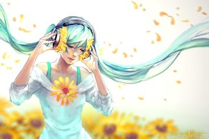 Rating: Safe Score: 44 Tags: aqua_hair flowers hatsune_miku headphones long_hair sunflower twintails vocaloid wenqing_yan User: FormX