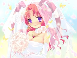 Rating: Safe Score: 17 Tags: alice_parade bunnygirl butterfly elbow_gloves flowers game_cg gloves long_hair pink_hair rose unisonshift usagi_luna_hatsujou wedding_attire User: 秀悟