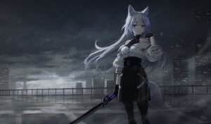 Rating: Safe Score: 51 Tags: animal_ears building city clouds cropped dark garter_belt gloves gray_hair megumu original purple_eyes rain signed skirt sky sword tail water weapon User: BattlequeenYume
