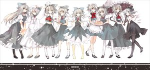 Rating: Safe Score: 43 Tags: animal_ears barefoot blue_eyes blue_hair bow cake catgirl cirno cosplay dress fairy flowers food glasses hat headdress hina_(pico) japanese_clothes kneehighs long_hair maid miko ofuda pantyhose ribbons short_hair tail touhou umbrella wings User: w7382001