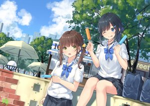 Rating: Safe Score: 76 Tags: 2girls miko_fly original popsicle school_uniform signed summer wink User: FormX