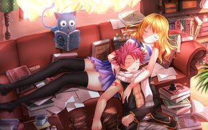 Rating: Safe Score: 371 Tags: animal blonde_hair book cat drink fairy_tail happy_(fairy_tail) long_hair lucy_heartfilia male natsu_dragneel open_shirt paper pink_hair scarf short_hair skirt sleeping swordsouls tattoo thighhighs wristwear zettai_ryouiki User: RyuZU