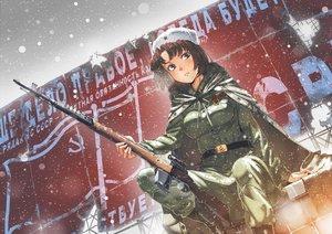 Rating: Safe Score: 134 Tags: aoki_(miharuu) black_eyes brown_hair cape gun hat military original short_hair snow uniform weapon winter User: Flandre93