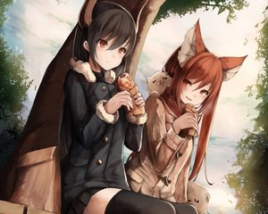 Rating: Safe Score: 149 Tags: 2girls animal_ears cerberus_(shingeki_no_bahamut) cropped food forte_(shingeki_no_bahamut) foxgirl horns inaba_sunimi long_hair scarf shingeki_no_bahamut skirt taiyaki thighhighs waifu2x zettai_ryouiki User: mattiasc02
