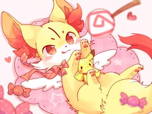 Rating: Safe Score: 31 Tags: animal blush bow candy doll fennekin fox heart lollipop pikachu pokemon red_eyes ribbons ushiinu waifu2x User: otaku_emmy