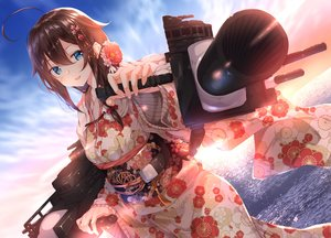 Rating: Safe Score: 49 Tags: anthropomorphism aqua_eyes brown_hair clouds japanese_clothes kantai_collection long_hair numpopo shigure_(kancolle) sky water weapon User: Nepcoheart