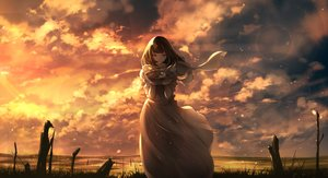 Rating: Safe Score: 42 Tags: brown_eyes brown_hair c.c.r_(ccrgaoooo) clouds dress food gloves original scarf sky sunset User: BattlequeenYume