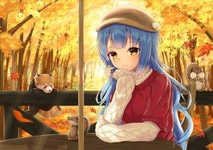 Rating: Safe Score: 43 Tags: animal anthropomorphism autumn azur_lane blue_hair forest hat kuroisiro manjuu_(azur_lane) neptune_(azur_lane) tree yellow_eyes User: Nepcoheart