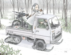 Rating: Safe Score: 33 Tags: black_eyes black_hair car combat_vehicle glasses goggles gun jettoburikku male military motorcycle original signed snow tree uniform weapon User: RyuZU