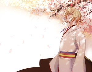 Rating: Safe Score: 9 Tags: all_male blonde_hair cherry_blossoms flowers hakuouki_shinsengumi_kitan japanese_clothes kazama_chikage kimono male petals red_eyes User: Maboroshi