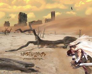 Rating: Safe Score: 37 Tags: animal bird brown_hair clouds sky sword weapon User: Oyashiro-sama