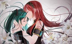 Rating: Safe Score: 61 Tags: 2girls flowers green_hair hatsune_miku headband kiss long_hair megurine_luka okingjo red_hair signed tattoo twintails vocaloid User: Flandre93
