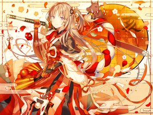 Rating: Safe Score: 66 Tags: animal armor brown_hair elbow_gloves fan flowers gloves io_enishi japanese_clothes katana kimono long_hair original petals signed sword weapon yellow_eyes User: RyuZU