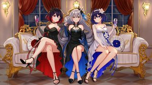 Rating: Safe Score: 60 Tags: aircell black_eyes blue_eyes blue_hair blush bronya_zaychik couch dress drink elbow_gloves gloves gray_hair headband honkai_impact long_hair purple_hair red_eyes seele_vollerei short_hair veliona wink User: BattlequeenYume