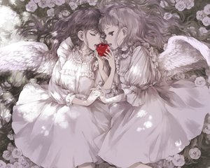 Rating: Safe Score: 37 Tags: 2girls angel apple black_hair cropped dress flowers food fruit kakmxxxny06 lolita_fashion long_hair original polychromatic white_hair wings User: mattiasc02