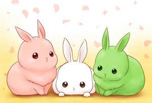Rating: Safe Score: 57 Tags: animal daikichi_(pixiv13506351) food gradient green original petals pink rabbit white User: otaku_emmy