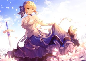 Rating: Safe Score: 70 Tags: artoria_pendragon_(all) blonde_hair blush clouds dress fate/grand_order fate_(series) flowers gloves green_eyes nakanishi_tatsuya petals saber short_hair skirt_lift sky sword weapon User: BattlequeenYume