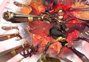 Rating: Safe Score: 133 Tags: black_hair boots cape fate/grand_order fate_(series) gun hat headdress khanshin long_hair nobunaga_oda_(fate) red_eyes skull sword weapon User: RyuZU