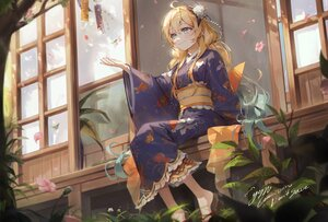 Rating: Safe Score: 41 Tags: blonde_hair blue_eyes building flowers grass japanese_clothes kellymonica02 kimono leaves original signed tree twintails User: Fepple