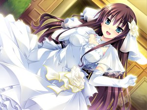 Rating: Safe Score: 93 Tags: blue_eyes brown_hair damatte_watashi_no_muko_ni_nare elbow_gloves game_cg gloves long_hair mutou_kurihito wedding_attire User: Wiresetc