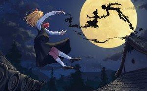 Rating: Safe Score: 47 Tags: blonde_hair clouds magic moon night roke_(taikodon) rumia short_hair skirt sky stars touhou tree User: RyuZU
