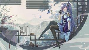 Rating: Safe Score: 65 Tags: butterfly genshin_impact gloves keqing_(genshin_impact) long_hair pantyhose pink_eyes purple_hair twintails yelan_xing_xuan User: BattlequeenYume