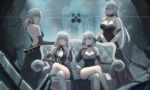 Rating: Safe Score: 116 Tags: ak12_(girls_frontline) ak15_(girls_frontline) an94_(girls_frontline) anthropomorphism braids breasts changpan_hutao cleavage couch cross dress elbow_gloves girls_frontline gloves gray_hair green_eyes group long_hair necklace pink_eyes purple_eyes rpk-16_(girls_frontline) short_hair wink User: Arsy