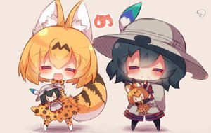 Rating: Safe Score: 37 Tags: 2girls animal_ears anthropomorphism catgirl chibi doll kaban kemono_friends muuran serval tail User: RyuZU
