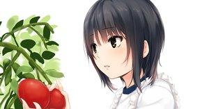 Rating: Safe Score: 103 Tags: aoyama_sumika apron black_hair brown_eyes coffee-kizoku food leaves original short_hair white User: luckyluna