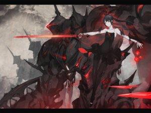 Rating: Safe Score: 37 Tags: armor black_hair dress ishinarimaru_shouten long_hair mecha original pantyhose pixiv_fantasia red_eyes sword twintails weapon User: RyuZU