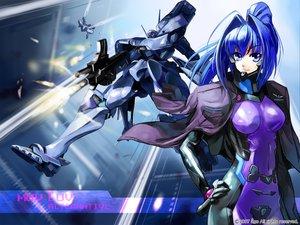 Rating: Safe Score: 24 Tags: blue_eyes blue_hair bodysuit hayase_mitsuki muv-luv robot skintight User: Oyashiro-sama