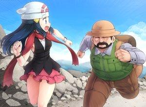 Rating: Safe Score: 100 Tags: black_hair blue_eyes hat hikari_(pokemon) komimiyako long_hair male pokemon scarf skirt wristwear User: Flandre93