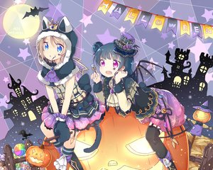 Rating: Safe Score: 56 Tags: 2girls animal animal_ears aqua_eyes bat brown_hair candy catgirl crown garter_belt gloves halloween kneehighs lollipop love_live!_school_idol_project love_live!_sunshine!! pumpkin purple_eyes short_hair skirt stockings tagme_(artist) tail tattoo thighhighs tsushima_yoshiko watanabe_you wings User: RyuZU