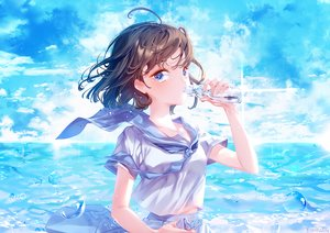 Rating: Safe Score: 43 Tags: aqua_eyes brown_hair clouds drink kiwikong original school_uniform short_hair signed sky summer water User: FormX